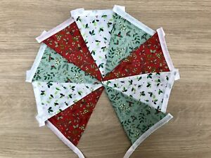 Christmas Decoration Bunting holly  red white green fabric double sided