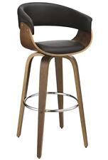 Contemporary Black Upholstered Bar Stool with Walnut Finish by Coaster 100205