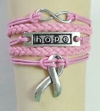 BREAST CANCER AWARENESS,HOPE,LEATHER ADJUSTABLE BRACELET-BLACK-SILVER ALLOY#38