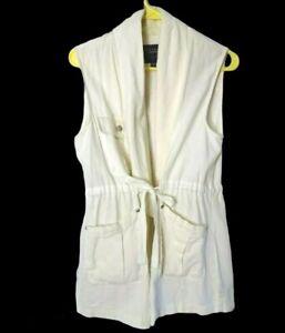 SANCTUARY Sleeveless Jacket Size Small Cream Drawstring Linen Blend 3 Pockets
