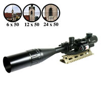 6-24X50 R/G Tactical Rifle Scope with PEPR Mount +Sunshade+Laser Sight  Mil-dot