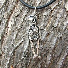 E92 HANGING SKELETON PENDANT BONE GOTHIC MEN WOMEN PEWTER NECKLACE SKULL JEWELRY