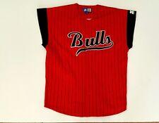 Vtg Starter Chicago Bulls  Pinstripe Sleeveless Button Up Red Jersey Size Large