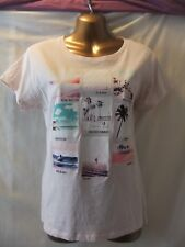 LADIES Atmosphere 14 PALE BEIGE STRETCH/TROPICAL BEACHES/CAP SLEEVED CASUAL TOP