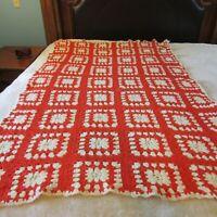 "VTG 70s Crocheted Granny Square Afghan Couch Throw Blanket 44 X 71"" Cream Orange"