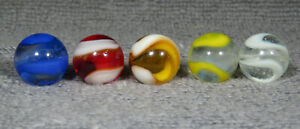 "GROUP OF 5 AKRO  AGATE SNAKE CORKSCREW  MARBLES 5/8"" - 21/32""    NM/M-"