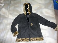 Faux suede coat, black, age 10-12, by Big Chill, animal print trim, with hood,