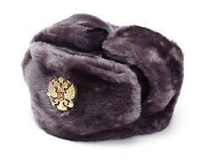 RUSSIAN AUTHENTIC USHANKA GRAY MILITARY HAT WITH IMPERIAL EAGLE EMBLEM