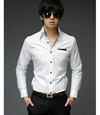 US CT42 New Mens Casual Slim fit Stylish Patched Dress Shirts one Colour WHITE