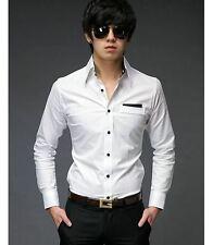 Noi ct42 Nuovo Uomo Casual Slim Fit Elegante Abito patch Camicie un colore bianco
