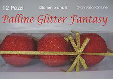 PALLINE NATALE PALLE GLITTER ROSSO FANTASY 12 Pz Diam cm 8 Stock Albero