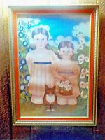 "Original Mid Century Judith Neville Folk Art Print Wood Framed 27"" x 19"""