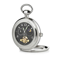 Black Open Face Pocket Watch with Sun and Moon Phase TIM007