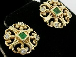 E075 Genuine 9K 9ct Gold NATURAL Emerald & Diamond Fleur-de-lis Stud Earrings