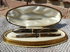 Antique Sheaffer 500 Military Fountain Pen & 350 Pencil Brown Striated VERY NICE