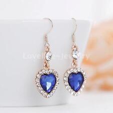 Elegant Royal Blue Heart Dangle Drop Earrings Diamante Crystal Wedding Prom