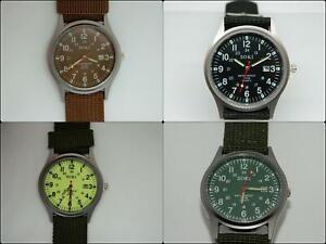 SOKI Men's Quartz Round Dial Military style watch on Canvas Strap, Colour Choice