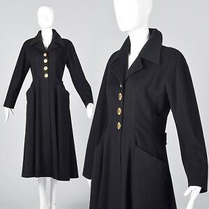 XS Chanel Cashmere Princess Coat Black Fit & Flare Designer Winter Outerwear