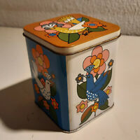 Retro Vintage Antique Colerful Birds Tin Can 12 MB Container Made in Gt. Britain