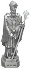 Statue St Patrick 3.5 inch Pewter Silver Figurine Patron Saint Catholic Card Box