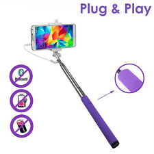 Purple Extendable Wired Selfie Stick Built-in Shutter Battery Free f/ iPhone etc