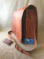 "Handmade Goat Leather 17"" FXL Padded Laptop Flap Satchel Bag Billy Goat Designs"