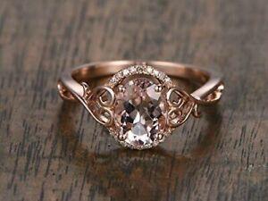 2CT Oval Cut Pink Morganite Diamond Wedding Engagement Ring 14K Rose Gold Finish