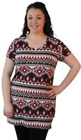 Plus Size Ladies Womens Short Sleeve Aztec Print Pattern Long T-Shirt Tunic Top