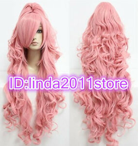 Megurine Luka Vocaloid Long Smoke Pink Curly Cosplay Wig With Clip Ponytail Wigs