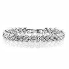 Women Wedding Jewellery Soild 925 Sterling Silver Fine AAAAA Zircon Bracelets