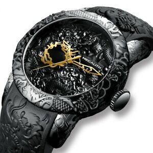 WATCHES MEN'S FASHION GOLD DRAGON TOP LUXURY BRAND CLOCK SCULPTURE WATCH FOR MEN