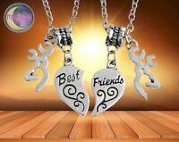 New Buck & Doe Deer Best Friends Kissing Heart Couple 2pcs Pendant Necklace