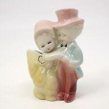 "Vtg 5"" Loving Boy & Girl Couple Ceramic Planter Suit Top-hat & Dress Kids Hug"
