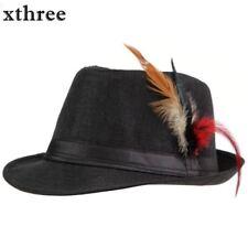Unisex Side Feathers Fedora Trilby Gangster Cap Beach Sun Straw Hat Men Hats