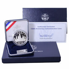 1996 P Smithsonian 150th Anniversary Proof Commem 90% Silver Dollar OGP US Coin