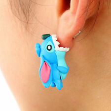 Pair Lilo and Stitch Theme Clay Earrings Illusion Bite Disney Animal Dog Jewelry