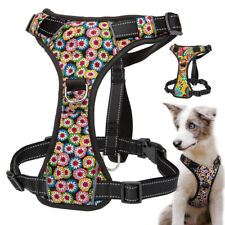 Front Lead Dog Harness With Control Handle Reflective No Pull Floral Adjustable