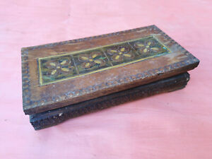 OLD PRIMITIVE VINTAGE  WOODEN HAND PAINTED PYROGRAPHY BOX CASE FOR DOCUMENTS