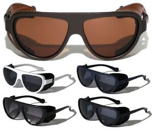 FAUX LEATHER SIDE SHIELD WIND GUARD CLASSIC AVIATOR SUNGLASSES MOTORCYCLE RETRO