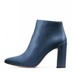 Women's Side Zip High Block Heel Pointy Toe Ankle Boots Dress Punk Shoes 44/46 L