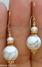 Pearl Gold Dangle Earrings Leverbacks White Howlite Turquoise W. White Fw