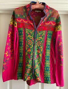 "Ivko Woman Size 38 US Sz 8 Cardigan Cotton Morocco Pink ""Lace"" Darting EUC Soft"