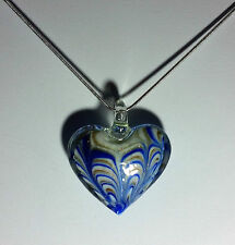 Lampwork glass with Blue,Gold&White Heart Design on 925 Sterling Silver Necklace
