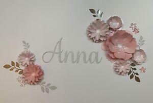 Blush/Pink Paper Flowers Set Wall Art Decor Backdrop Nursery Bedroom Party