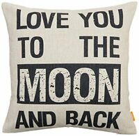 """NEW """"Love You To The Moon And Back """" Decorative Throw Pillow Case 18"""" x18"""""""