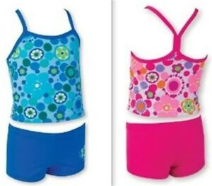 Size 1, 2 - Zoggs Girls 2 Piece Tankini Swimsuit (Pink or Blue) UPF 50+ Swimwear