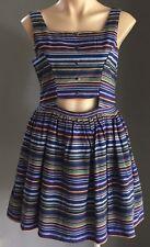Retro MISS CHERRY Multi Colour Stripe Sleeveless Skater Dress Size 12