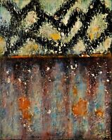"""Original Abstract Oil Painting, Signed, by Nalan Laluk, """"The Wall"""""""