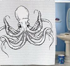 Black White Animal Octopus Fish Pattern Bathroom Fabric Shower Curtain Fa028