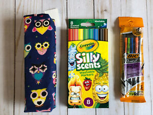 Owl Marker Case + Crayola Silly Scents Scented Markers 8 Pack + Bic Pencils